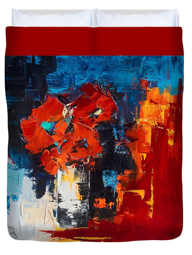 Flowers Duvet Cover featuring the painting Red Passion by Elise Palmigiani