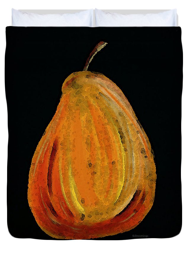 Sharon Cummings Duvet Cover featuring the painting Red Pear - Delicious Modern Fruit Food Art Print by Sharon Cummings