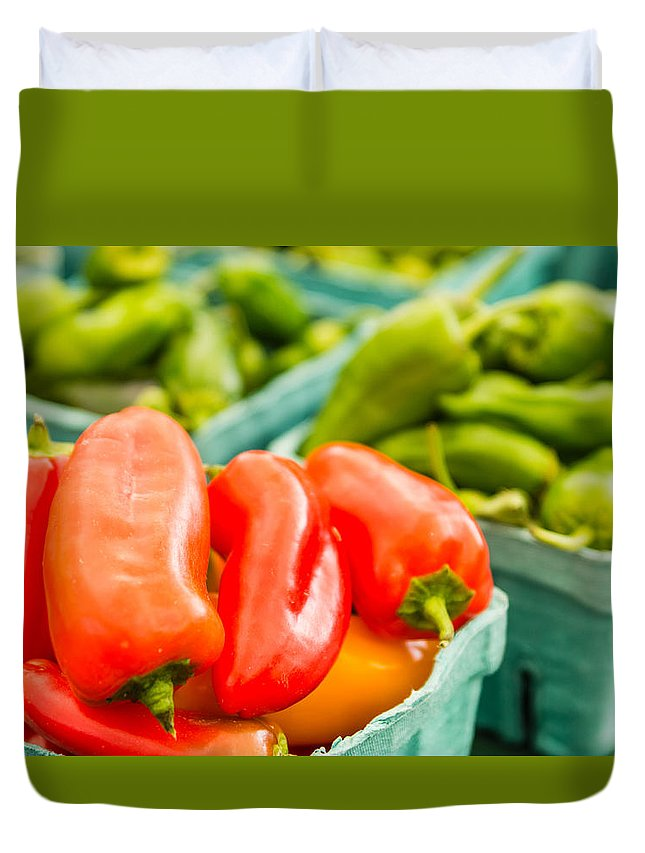 Agriculture Duvet Cover featuring the photograph Red Peppers On Display by John Trax