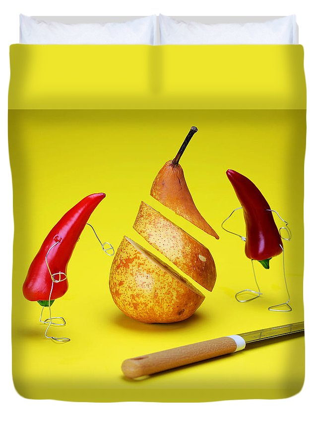 Surrealism Duvet Cover featuring the painting Red Peppers Sliced A Pear by Paul Ge