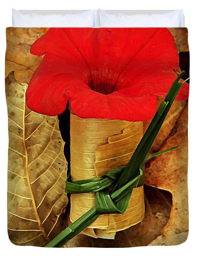 Petunia Duvet Cover featuring the photograph Red Petunia by Chris Berry