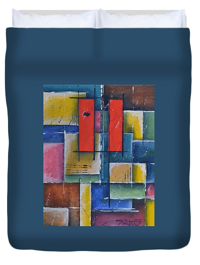 Fine Art America Duvet Cover featuring the painting Red Pillars by James Pinkerton