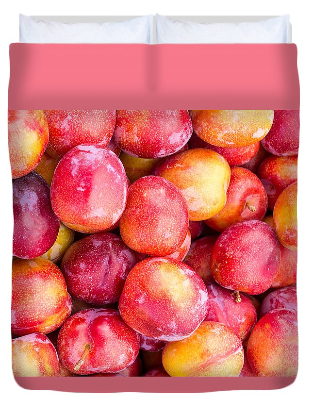 Food Duvet Cover featuring the photograph Red Plums by John Trax