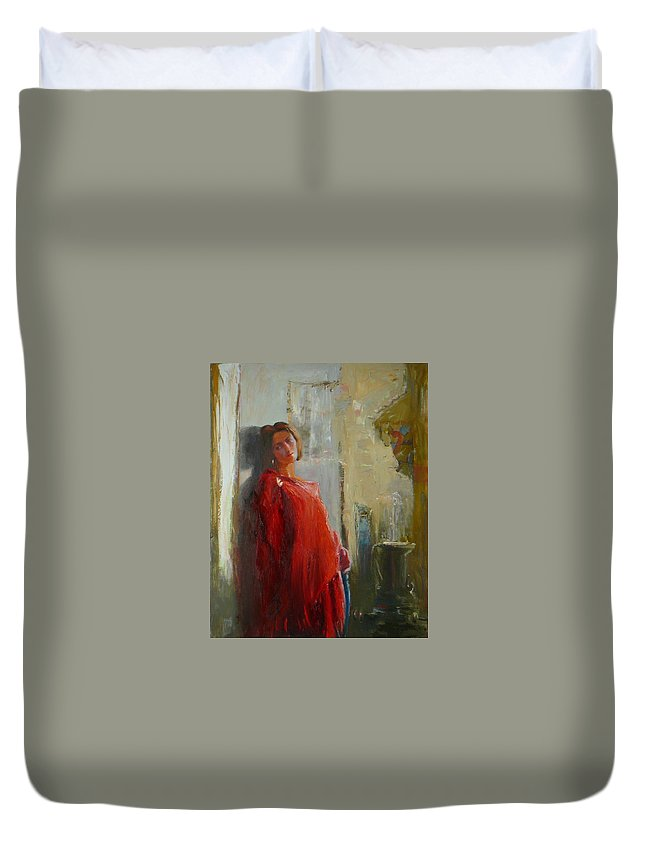 Red Poncho Duvet Cover featuring the painting Red Poncho by Irena Jablonski