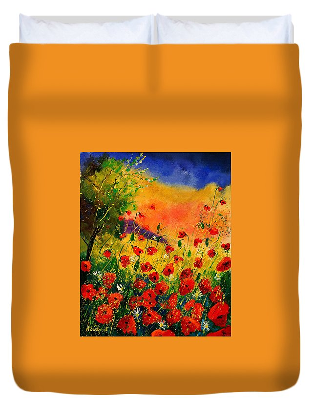 Poppies Duvet Cover featuring the painting Red Poppies 45 by Pol Ledent