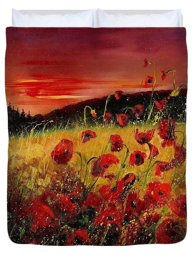 Poppies Duvet Cover featuring the painting Red Poppies And Sunset by Pol Ledent