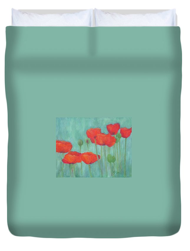 Red Poppies Duvet Cover featuring the painting Red Poppies Colorful Poppy Flowers Original Art Floral Garden by K Joann Russell