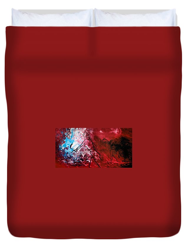 Genio Duvet Cover featuring the mixed media Red Psychological State by Genio GgXpress