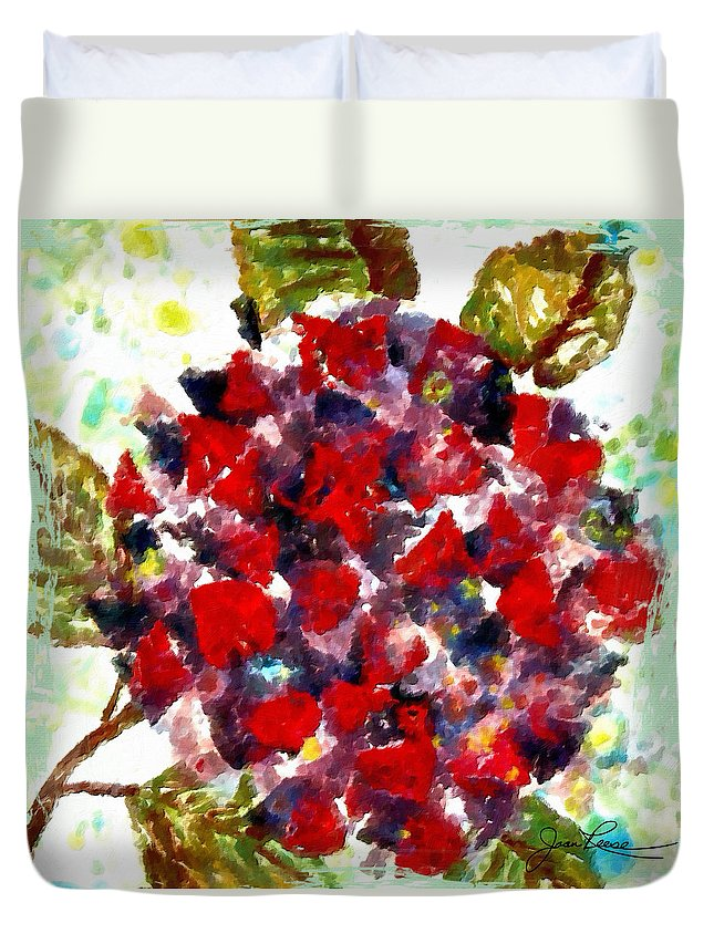 Red Duvet Cover featuring the painting Red Purple Flower by Joan Reese