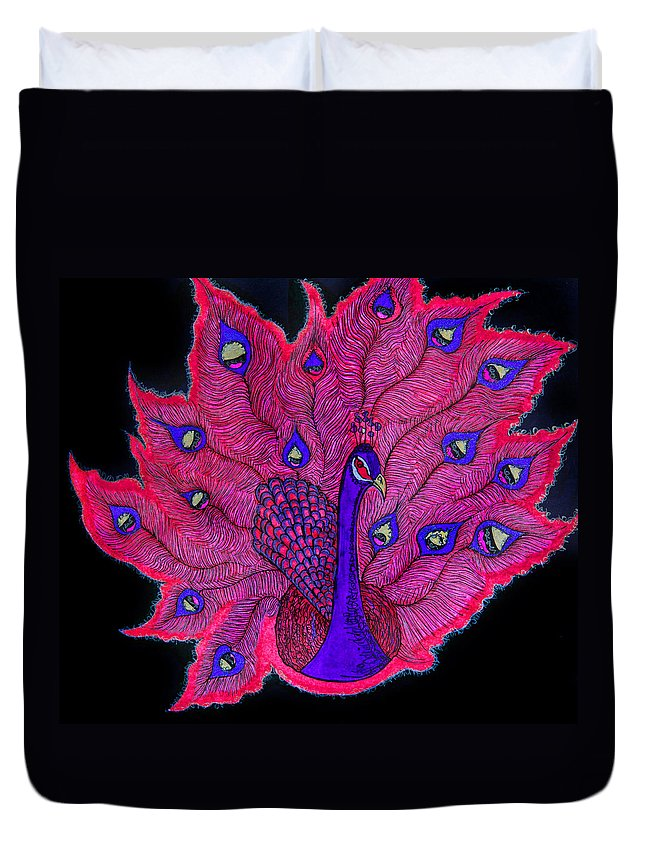 Purple Duvet Cover featuring the painting Red - Purple Peacock by Alex Art and Photo