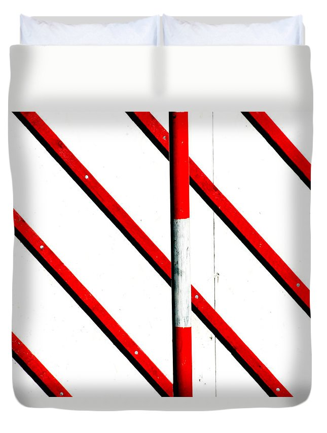 Areyarey Duvet Cover featuring the photograph Red Red Line by A Rey
