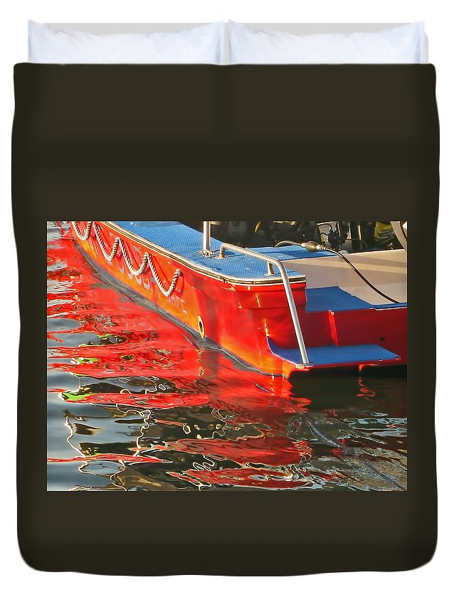 Red Duvet Cover featuring the photograph Red Rippling by Pete Marchetto