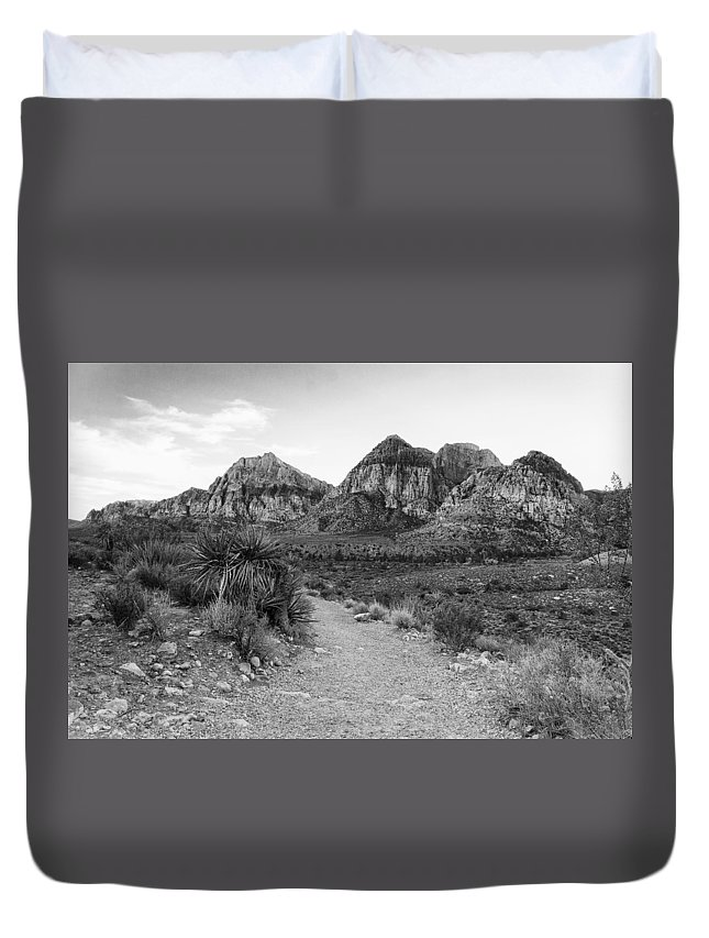 Red Rock Canyon Duvet Cover featuring the photograph Red Rock Canyon Trailhead Black And White by Stephanie McDowell