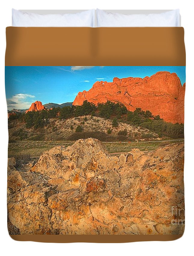 Sunrise At Garden Of The Gods Duvet Cover featuring the photograph Red Rock Caps by Adam Jewell