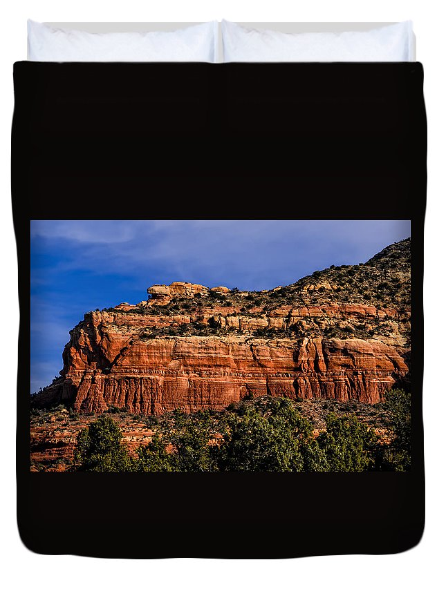 2014 Duvet Cover featuring the photograph Red Rock Crag by Mark Myhaver