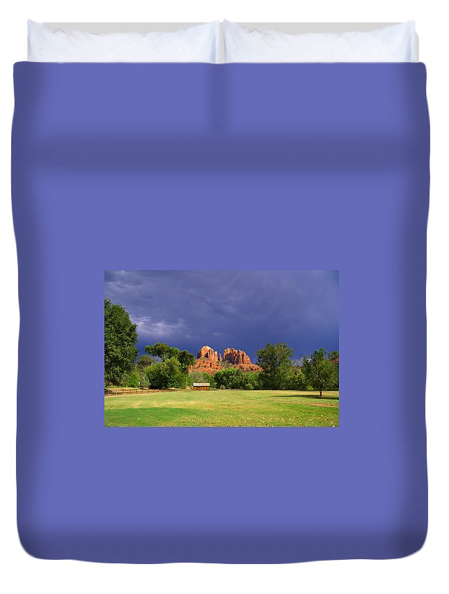 Cathedral Rock Duvet Cover featuring the photograph Red Rock Crossing Park by Alexey Stiop