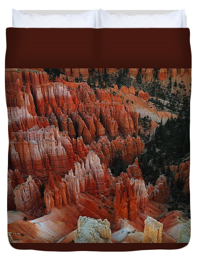Red Duvet Cover featuring the photograph Red Rock by Jeff Swan