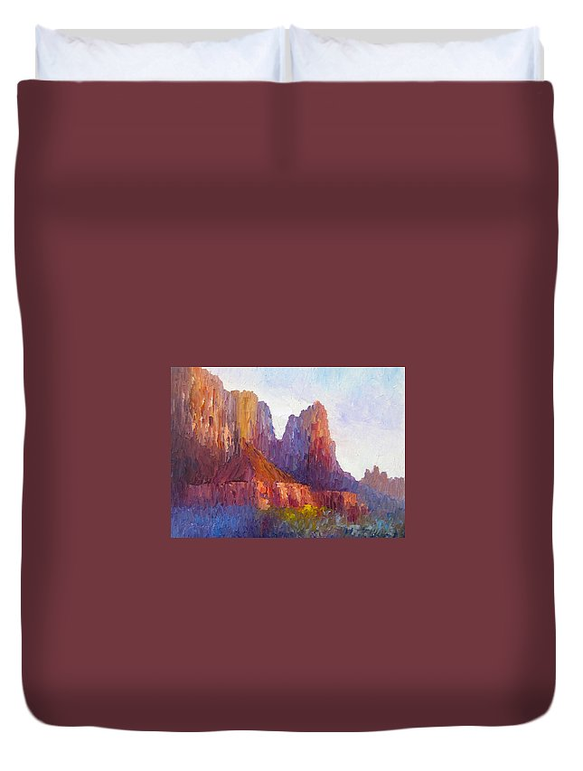 The Watchman Duvet Cover featuring the painting Red Rock Ridge by Terry Chacon