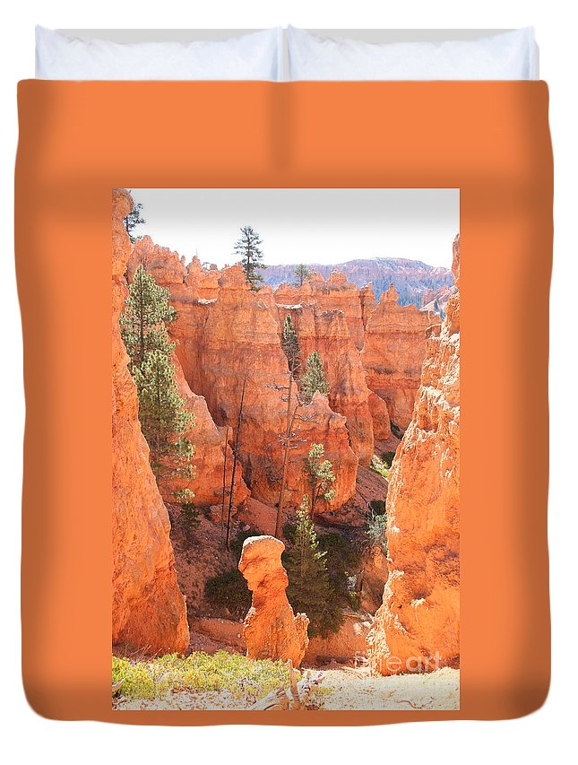 Canyon Duvet Cover featuring the photograph Red Rocks - Bryce Canyon by Christiane Schulze Art And Photography
