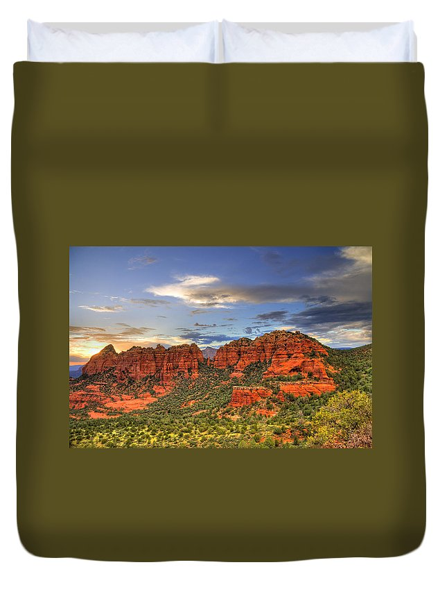Red Rocks Duvet Cover featuring the photograph Red Rocks Sunset by Alexey Stiop