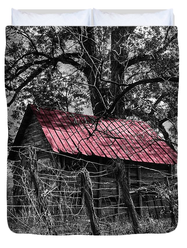 Andrews Duvet Cover featuring the photograph Red Roof by Debra and Dave Vanderlaan