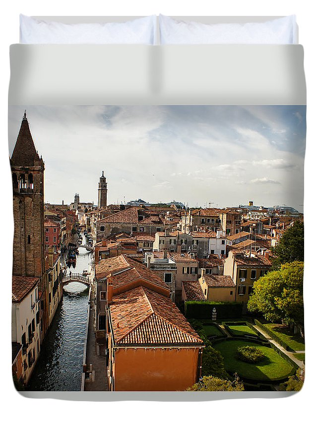 Venice Duvet Cover featuring the photograph Red Roofs Of Europe - Venetian Canal Palaces Gardens And Courtyards by Georgia Mizuleva