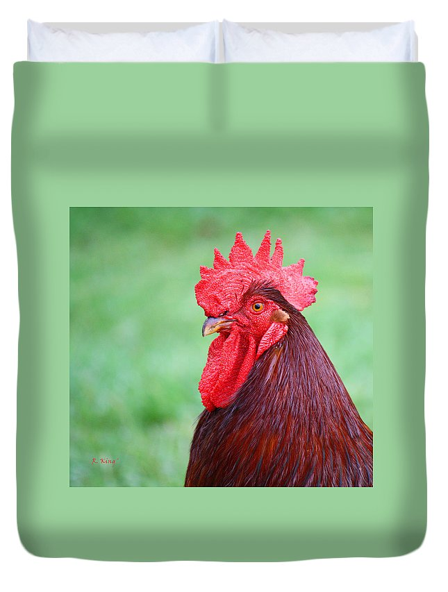 Roena King Duvet Cover featuring the photograph Red Rooster Portrait by Roena King