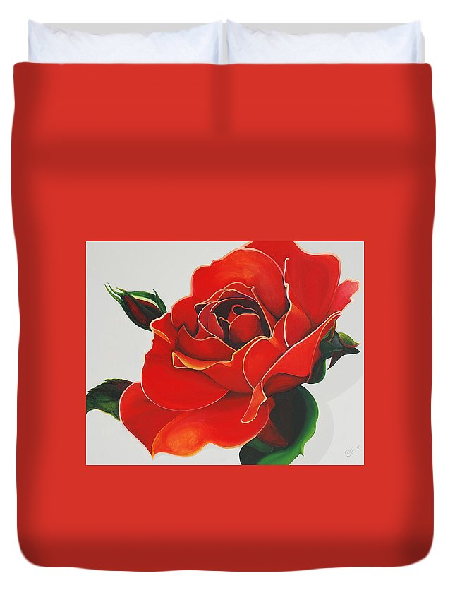 Red Rose Duvet Cover featuring the painting Red Rose by Catt Kyriacou