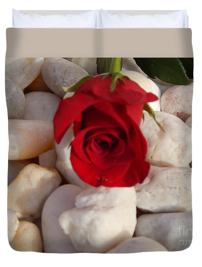 Red Rose Duvet Cover featuring the photograph Red Rose On River Rocks by To-Tam Gerwe