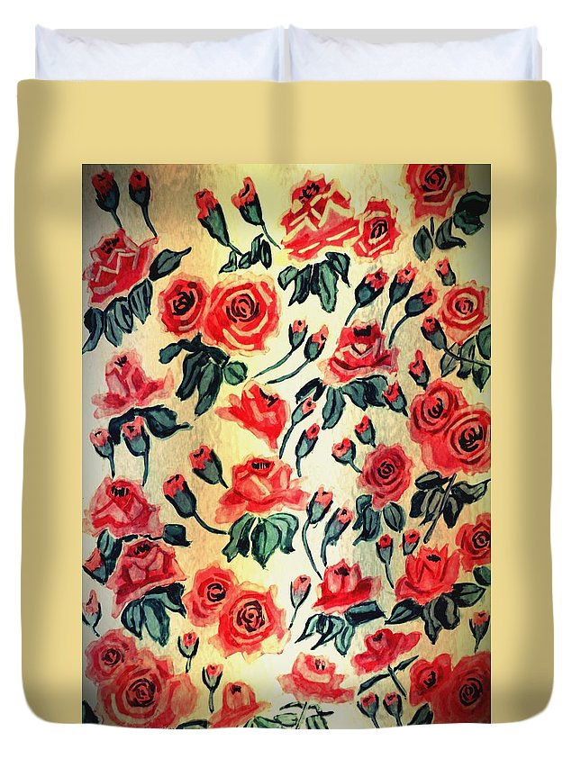 Painting Duvet Cover featuring the painting Red Roses by Dimitra Papageorgiou