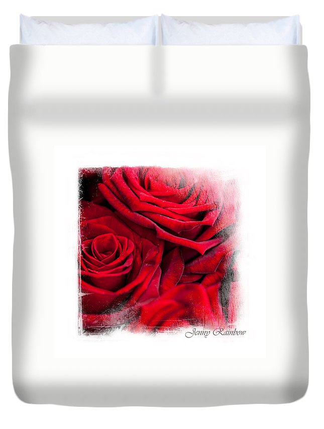 Rose Duvet Cover featuring the photograph Red Roses. Elegant Knickknacks by Jenny Rainbow