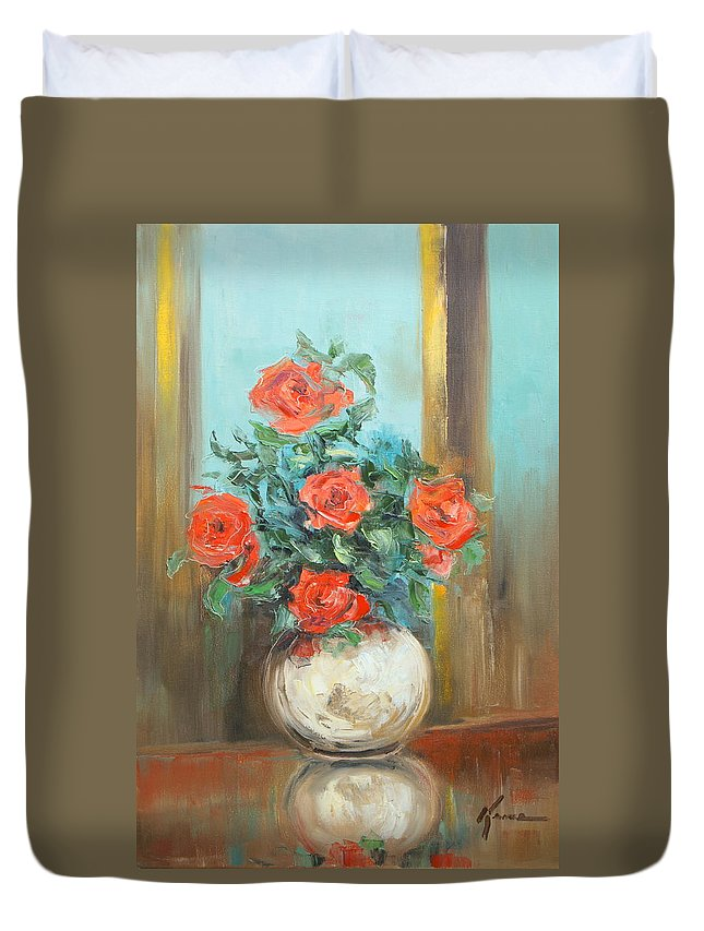 Rose Duvet Cover featuring the painting Red Roses by Luke Karcz