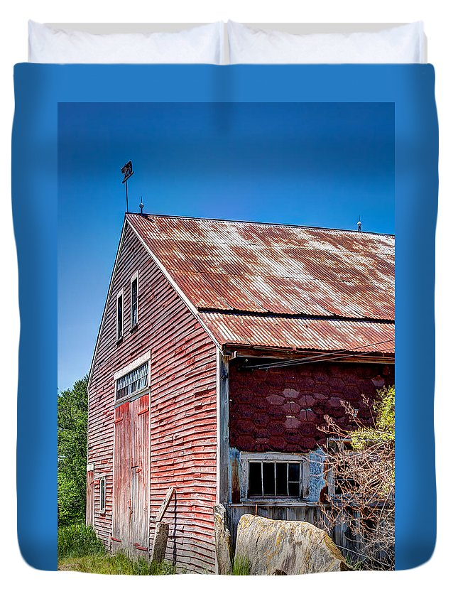 Laura Duhaime Photography Duvet Cover featuring the photograph Red Rustic Weathered Barn by Laura Duhaime