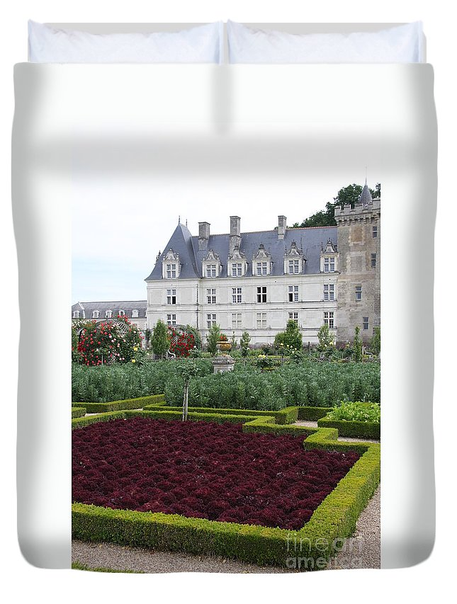 Cabbage Duvet Cover featuring the photograph Red Salad And Cabbage Garden - Chateau Villandry by Christiane Schulze Art And Photography
