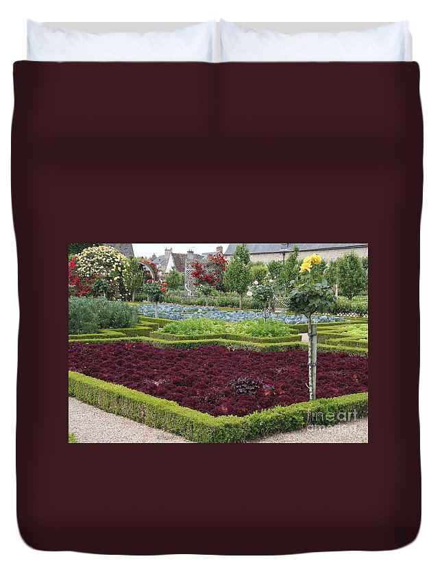 Salad Duvet Cover featuring the photograph Red Salad And Roses - Chateau Villandry Garden by Christiane Schulze Art And Photography