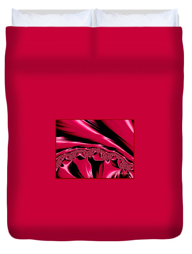 Abstract Duvet Cover featuring the photograph Red Satin by Barbara Zahno