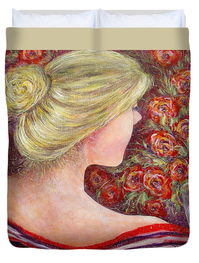 Female Duvet Cover featuring the painting Red Scented Roses by Natalie Holland