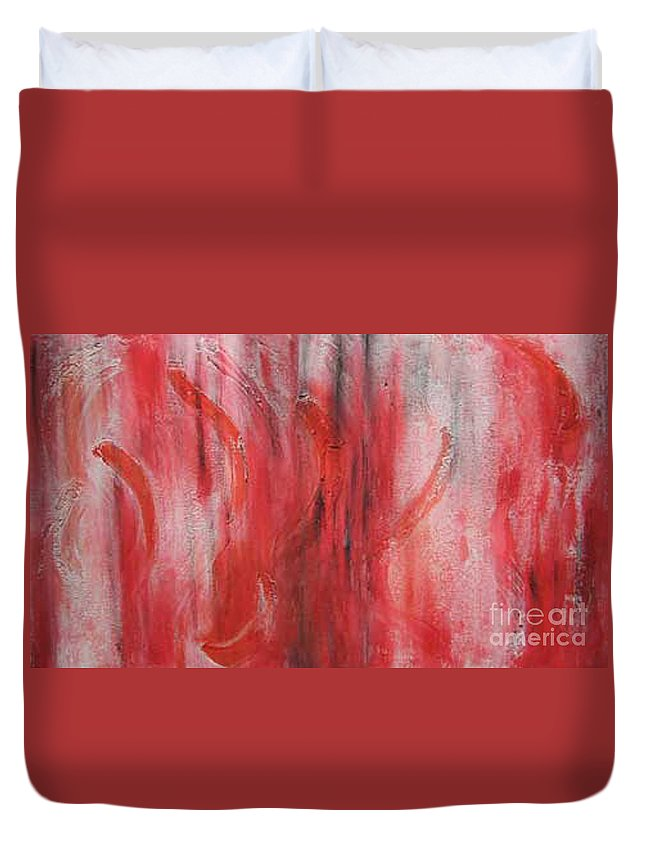 Abstract Duvet Cover featuring the painting Red Sea by Silvana Abel