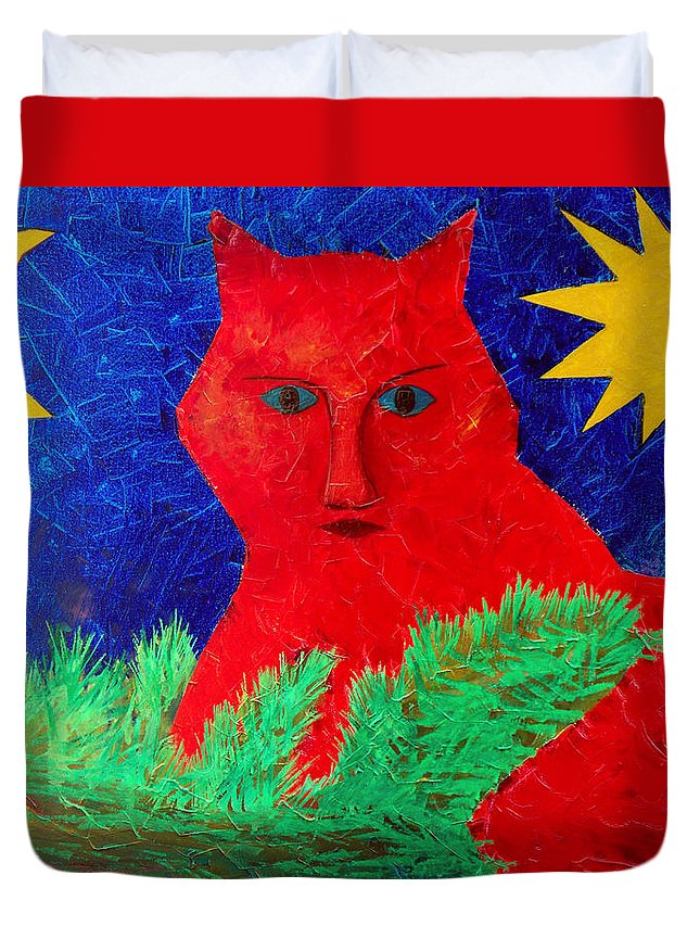 Fantasy Duvet Cover featuring the painting Red by Sergey Bezhinets