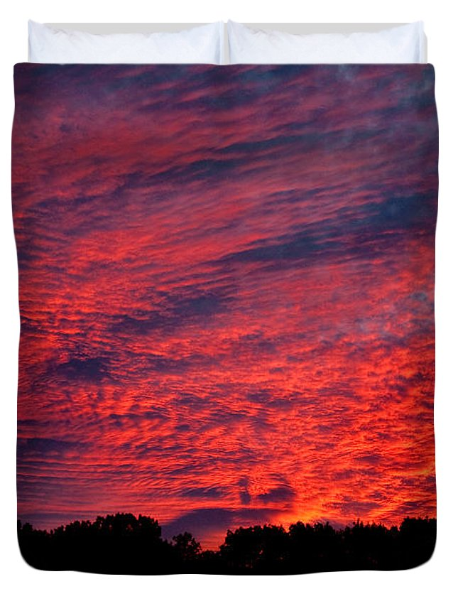 Clouds Duvet Cover featuring the photograph Red Sky At Night by Greg Fortier
