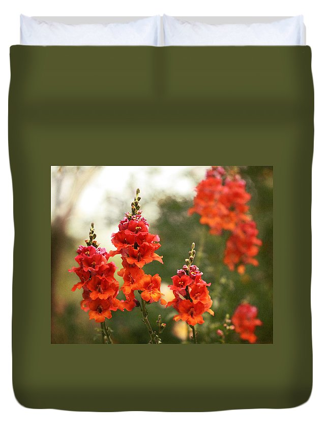 Snapdragons Duvet Cover featuring the photograph Red Snapdragons by Terry Fleckney
