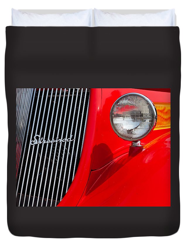 Headlight Duvet Cover featuring the photograph Red Streetrod by Alexey Stiop