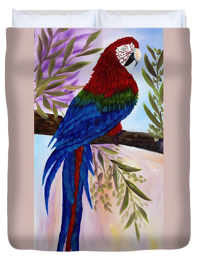 Oil Duvet Cover featuring the painting Red Tail Macaw by Kathy Przepadlo