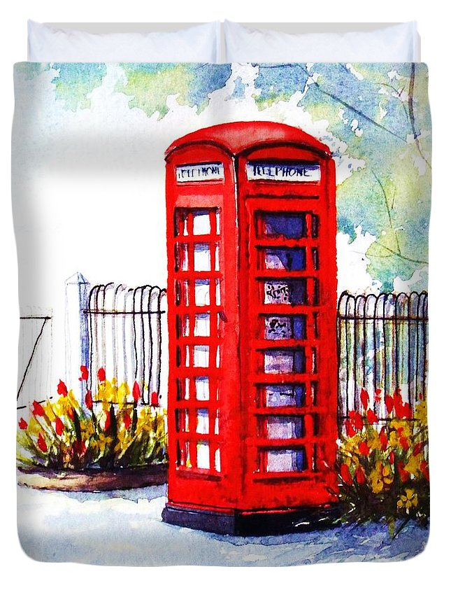 Red Duvet Cover featuring the painting Red Telephone Box by Debbie Fisher