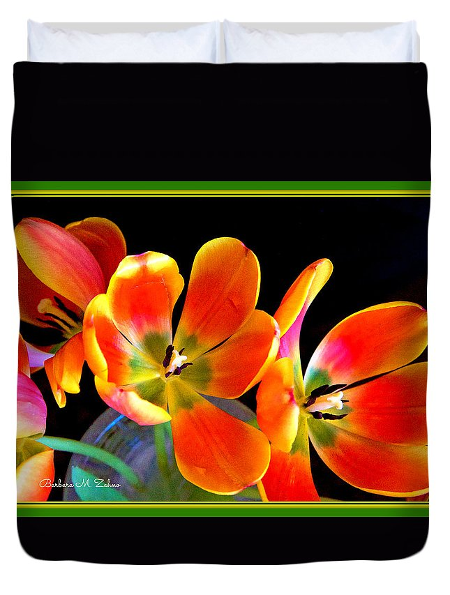 Flowers Duvet Cover featuring the photograph Red Tulips by Barbara Zahno