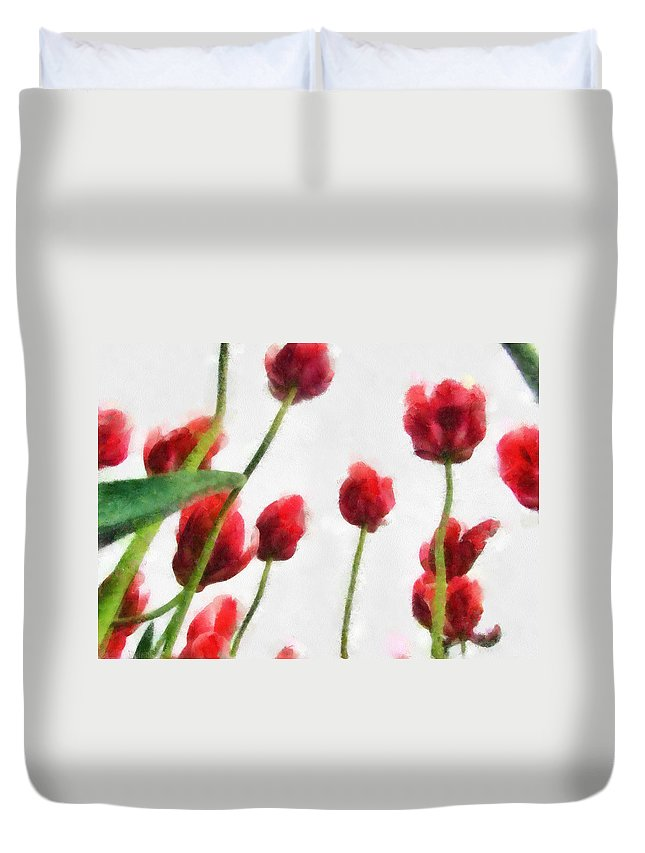 Hollander Duvet Cover featuring the photograph Red Tulips from the Bottom Up lll by Michelle Calkins