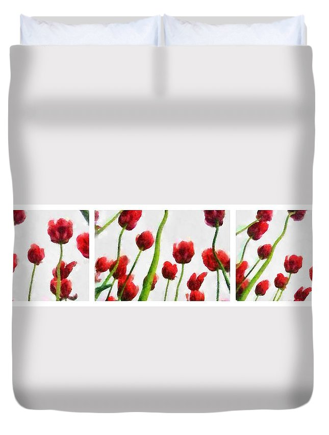 Hollander Duvet Cover featuring the photograph Red Tulips from the Bottom Up Triptych by Michelle Calkins