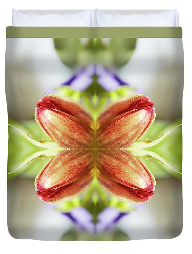 Tranquility Duvet Cover featuring the photograph Red Tulips by Silvia Otte