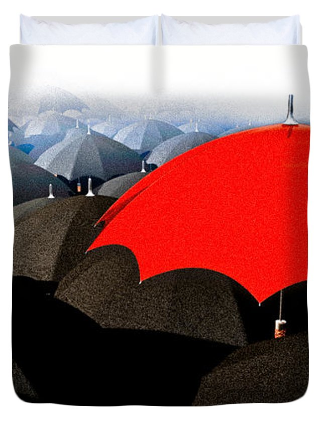 Umbrella Duvet Cover featuring the digital art Red Umbrella In The City by Bob Orsillo