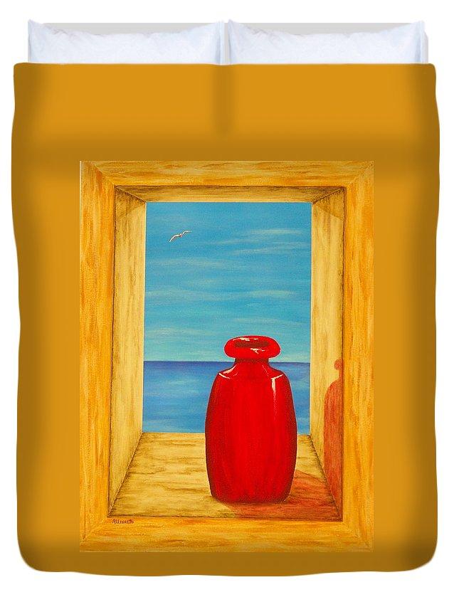 Pamela Allegretto Duvet Cover featuring the painting Red Vase by Pamela Allegretto